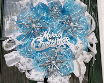 Blue and silver Xmas wreath, snowflake wreath, silver Xmas wreath, blue Christmas wreath, front door decoration, decomesh wreath, sparkle wr