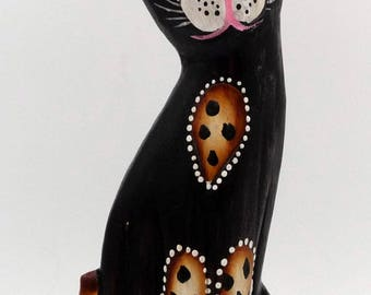 Wooden Panther leopard cat painted pink nose