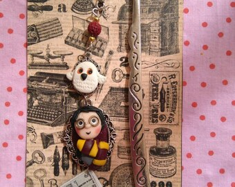 Marcapaginas Harry Potter, with miniature of Hedwig and the Prophet.