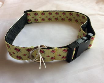 Large dog collar adjustable novelty yellow/pink floral design