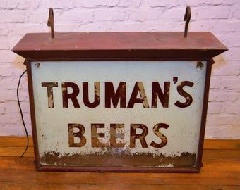Trumans beer illuminating glass box advertising sign vintage retro antique industrial brewery pub mancave