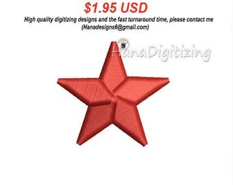 Mini 3D Star Machine Embroidery Design 3 Sizes