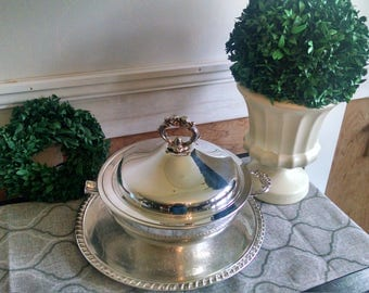 Vintage silver chasing bowl with lid~leonard silver bowl~vintage silver platter