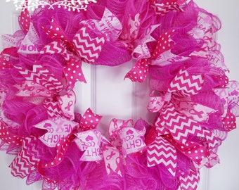 Cancer wreath - Breast cancer awareness wreath - Pink breast cancer wreath - Breast cancer wreath - October wreath - Hope wreath - Wreath
