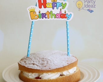 Kids Birthday Cake Topper - Kids Birthday Party Decorations / Supplies - Birthday Cake Bunting - Girls / Boys / Kids Party