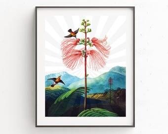 Birds on Fern Tree print, Printable wall art, Digital download, Fern plant, Watercolor birds, Birds on a wire, Exotic Bird Illustration