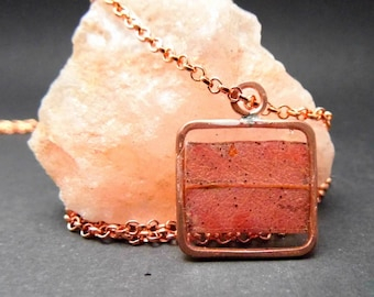 """Geometric Square Pendant in Epoxy Resin and Copper Inlay, Botanic, Natural Necklace """"Eucalyptus Leaf"""", Vintage, Retro, minimalist and Chic"""