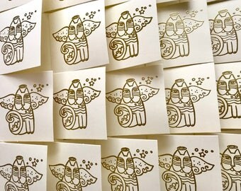 Mini Christmas cards, handmade Christmas cards, cat lover cards, angel cat cards, gold embossed cards