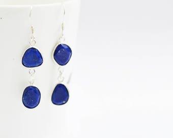 LAPIS LAZULI Bezel Earring , Sterling Silver Earring , Lapis Lazuli Unsual Shape Dangling Silver Earring