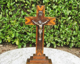 A Very Nice Vintage French Rosewood Inlaid Crucifix  Cross With Figure Of Christ
