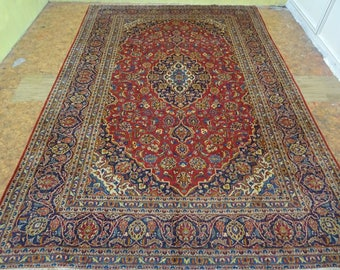 Antique Exquisite Hand Made Kashan Persian Rug