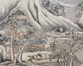 Antique Chinese scroll with Mountain Scene signed by Tam Guy Chuen