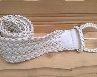 White braided belt woven distressed one size fits all vintage 80s/Pleated leather belt/ Woven belt/ Braided Belt/Trousers Belt/plaited belt