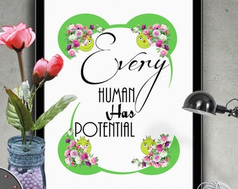 "Typography Art ""Every Human Has Potential"" Typograhy Art Print,Inspirational Poster,Motivational Quote,Typograpy Wall Art,Printable Wall Art"