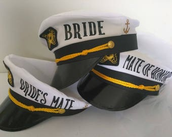 Captains hat, Bridal, Bachelorette, Bride, Maid of honor,bridesmaid, Mate, Lets Get Nauti, Let's get ship faced, w/wo veil- Personalized