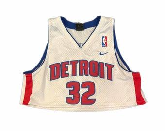 Reworked/Cropped - Detroit Pistons Basketball Jersey - Womens Medium