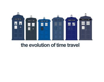 T-SHIRT: Doctor Who / Tardis Evolution - Classic T-Shirt & Ladies Fitted Tee - (LazyCarrot)