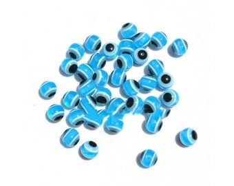 Set of 5 beads in resin - Turquoise evil eye