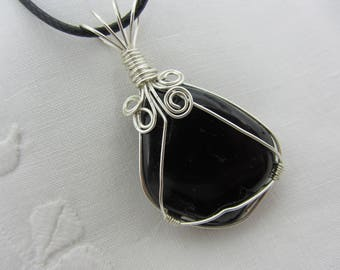 Black Tourmaline (Schorl) Wire Wrapped Pendant