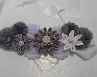 White and grey maternity sash belt , babyshower belt. Flower belt