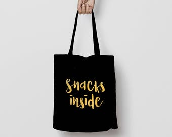 Birthday Tote Bag, Snacks Inside Tote Bag, Cotton Canvas Tote Bag, Funny Quote Tote Bag, Gold Foil Print Tote Bag, Snack Bag, Easter Tote