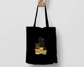 Cactus Tote Bag, Succulents Tote Bag, Gold Cactus Foil Tote Bag, Silver Cactus Foil Print Grocery Tote Bag, Everyday Tote Bag, Gold Cactus