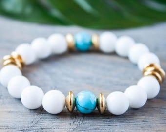 Trendy Snow White Blue Jade Turquoise Bracelet Women Sister Bracelet Cousin Bracelet Moms Bracelet Golden Accents Gift for Her Yoga Bracelet