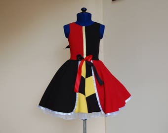 Queen of Hearts Costume ,Alice in Wonderland dress,Girls Alice in Wonderland Queen of Hearts inspired dress