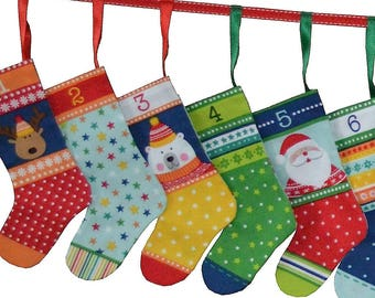 Novelty Icons Christmas Mini Stockings Advent Calendar Craft & Sew - PANEL