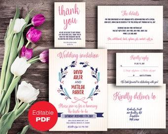 Wedding invitation set template editable invitation set PDF Wedding invites set Rustic invitation Printable invitation Editable invitation
