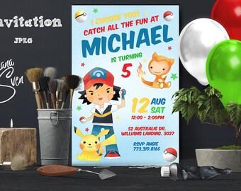 Pokemon Invitation, Pokemon Party, Pokemon Birthday Invitation, Girl Pokemon Invitation, Boy Pokemon Invitation, Pokemon GO Theme Printables