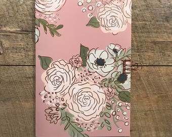 Pink Floral Travelers Notebook Insert - TN Insert - Midori Insert - Pink Floral Notebook - Scrapbook Insert - Planning Insert - Various Size