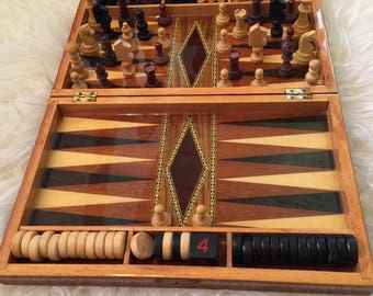 """14"""" Vintage Backgammon Board Wood With Mother of Pearl"""