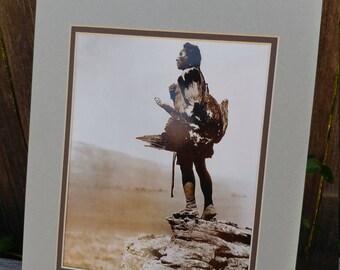 Vintage Edward Curtis Photography Print // 1907 Sioux Eagle Catcher Portrait // Americana Native American History