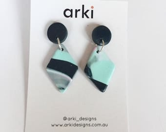Teal, mint and pink diamond earrings