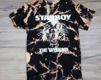 Starboy The Weeknd, Vintage Bleached T-Shirt, XO - Black - (White Print)