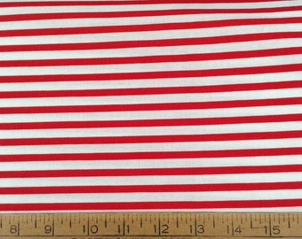 Red and off-white horizontal stripes cotton fabric by the yard