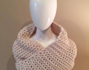 Chunky Twisted Crochet Cowl Winter White