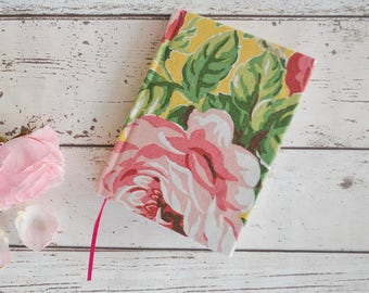 Rose print A6 notebook, pink rose journal with lined pages and ribbon bookmark, vintage rose fabric notebook, A6 journal, Rose notebook