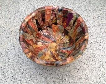 Decoupaged paper bowl