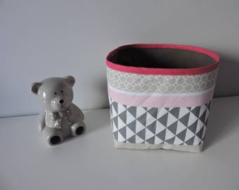 grey pink geometric fabric storage basket