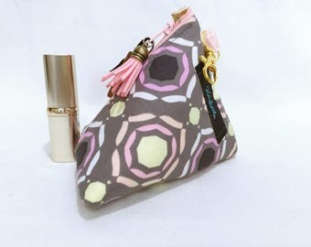 Pastel Small Make Bag, Make up Bag, Small Cosmetic Bag, Triangle Shape with Lobster Clip, Gift for Her, Coin Purse.