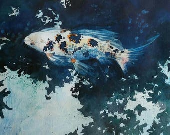 Koi Original Watercolor Painting 8 inches by 10 inches Fish Blue Green