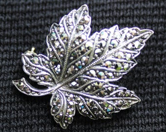 Vintage Silver Marcasite Maple Leaf Pin