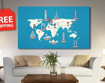 Multi panel world map. Blue world map canvas framed for wall decor. World map with symbols. Giant world map canvas set for deciration home.