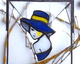 Stained Glass brooch beutiful lady in the blue hat, unique stained glass brooch