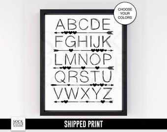 Alphabet Nursery Print - Custom ABC Art Print, Alphabet Print, Nursery Art Print, ABC Art, Arrow Wall Art, Nursery Wall Art, Sku-CNA104