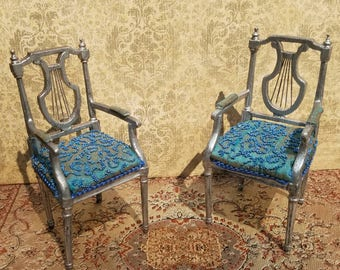 Miniature dollhouse dining room turquoise beaded chairs, 1:12 scale