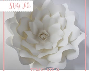 SVG Paper Flower Template, Giant Paper Flower Templates, Paper flower DIY, Cricut and Silhouette Ready, Base Including