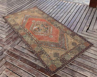 "3'5""x7ft.Floor rug,oushak rug,home desing rug,area deco rug,anatolion rug,vintage rug,turkish rug,rugs."
